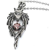 Epinki Stainless Steel Pendant Necklace, Mens Vintage Punk Rock Silver Black Wolf Head Round Necklace