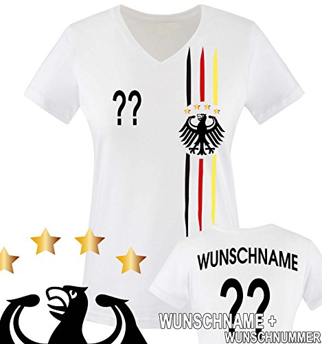 Junggesellinnen Kostüm Der (Comedy Shirts - WELTMEISTER 2014 | M1 | VORNE + HINTEN | WUNSCH - Damen V-Neck T-Shirt - Weiss / Schwarz-Rot-Gelb Gr.)
