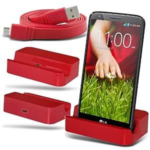 Fone-Case LG G2 D802(Rouge) Micro USB de charge de bureau de berceau de dock Port stand chargeur et super rapide 1 Mètre Data Flat Transfert Câble de synchronisation