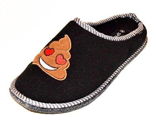 TMY–Pantofole in feltro con suola in feltro/filzlatschen in nero per erwaschsene con Smiley, taglia di 36–45 Black