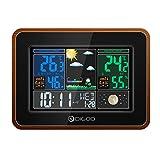DIGOO DG-TH8878 Holzmaserung Farbe Wireless Wetterstation, Indoor Outdoor Hygrometer Thermometer Wettervorhersage mit USB-Ladeausgang, Sprachsteuerung, Farbbildschirm, Dual-Wecker