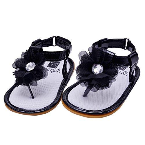 BOBORA Bebe Filles Premieres Chaussures de Marche Sandales D'ete 0-18Mois Noir
