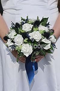 Chardon écossais inspiré Ivoire Rose et Bleu Marine Mariée Bouquet