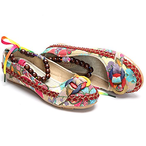 Minetom Donna Retro Fiore Ricamato Piatto Scarpe Casuale Multicolore Perline Rotonda Testa Espadrillas Ballerine Mocassini Multicolore