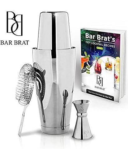 4pièces de barres de Boston Shaker par Barre Brat ™/Bonus 130+ recettes de cocktails (eBook)/Bonus Mesureur/Mélange n'importe quelle Boisson à la perfection