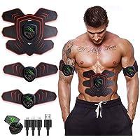 ROOTOK Electroestimulador Muscular Abdominales, USB Recargable EMS Estimulador Muscular Abdominales, para Abdomen/Cintura/Pierna/Brazo