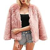 LAEMILIA Damen Mantel Winter Elegant Warm Faux Fur Kunstfell Cardigan Trenchcoat in Felloptik Rundhals Jacke Mantel Coat Wintermantel Outwear Vergleich