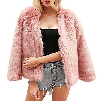 LAEMILIA Damen Mantel Winter Elegant Warm Faux Fur Kunstfell Cardigan Trenchcoat in Felloptik Rundhals Jacke Mantel Coat Wintermantel Outwear