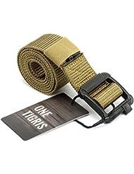 """OneTigris táctica 1,5""""Nylon cinturón con hebilla de plástico para la caza Camping senderismo uso diario, 1.5"""" Web Belt, caqui, large"""