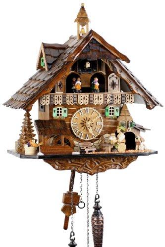 Engstler eble 4832 qmt - orologio a cucù al quarzo, in vero legno, dalla foresta nera, funzionamento a pile, con carillon musicale, 41 cm