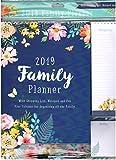 2019 Organisateur Familial Calendrier Mural avec Liste de Courses, Bloc-Notes & Stylo Personnel Planificateurs - Fleurs Thème