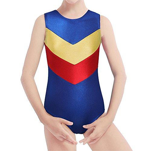 Kidsparadisy Mädchen Kinder Gymnastik Trikot Tanz Kostüm ärmelloses Doppel V funkeln grün blau Ballett Tutu Dancewear für 2-15 Jahre (Blue, 170(14-15 Jahre)) (Tanz Kostüm Funkeln)