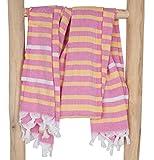 ZusenZomer Hamamtuch Damen xl IBIZA 95x185 Rosa Gelb - Hamam Handtuch Badetuch Strandtuch Weich und Leicht - 100% Baumwolle Handgewebt Hammam Tücher