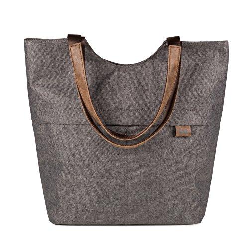 ZWEI Shopper mit Henkel OLLI OT15-z Handtasche Damen Nylon-Kunstleder, Farbe:stone