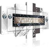 Cuadro 200x100 cm! 5 partes - Grande Formato - Impresion en calidad fotografica - Cuadro en lienzo tejido-no tejido - abstracción 020101-157 200x100 cm B&D XXL