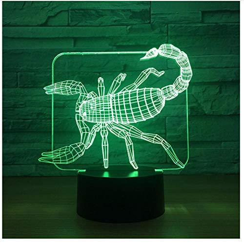 LED Nachtlicht für Kinder,Scorpion Usb Kreative Nachttischlampe 3D Dekorative Weihnachtsschmuck Geschenk Für Babyzimmer Lichter Valentinstag Geschenk (Dekorativen Weihnachtsschmuck)
