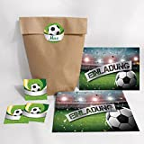 12-er Set Einladungskarten zum Kindergeburtstag Fußball Fussball + Umschläge, Tüten, Aufkleber / Einladungen Geburtstag (12 Karten + 12 Umschläge + 12 Party1-Tüten (Kreuzbodenbeutel) + 12 Aufkleber)
