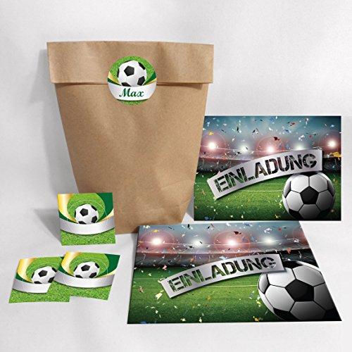 karten zum Kindergeburtstag Fußball Fussball + Umschläge, Tüten, Aufkleber / Einladungen Geburtstag (12 Karten + 12 Umschläge + 12 Party1-Tüten (Kreuzbodenbeutel) + 12 Aufkleber) ()