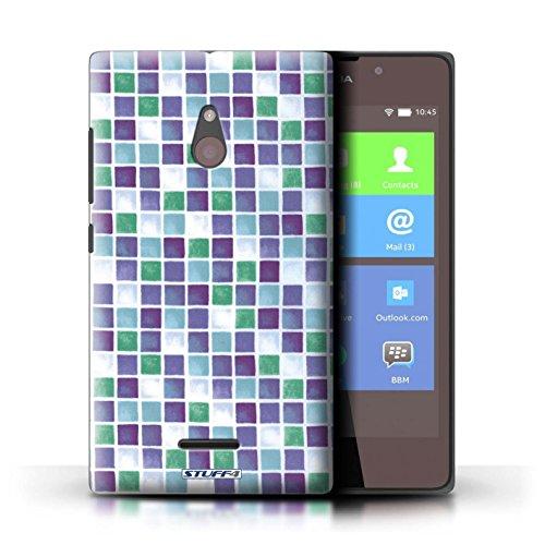 Kobalt® Imprimé Etui / Coque pour Nokia XL / Bleu/Blanc conception / Série Carreau Bain Violet/Vert