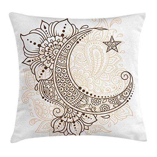 Half Moon Throw Pillow Cushion Cover, Mystic Intricate Oriental Paisley Floral Crescent Star Arrangement, Decorative Square Accent Pillow Case, Pale Peach and Chocolate,12 X 12 Inches Half Moon Zip