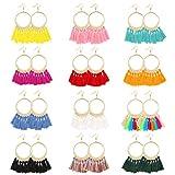Tagaremuser 12 paare Frauen Mode böhmischen ethnischen Fransen Quaste Ohrringe goldenen runden Kreis Ring Dangle hängende Tropfen Ohrringe