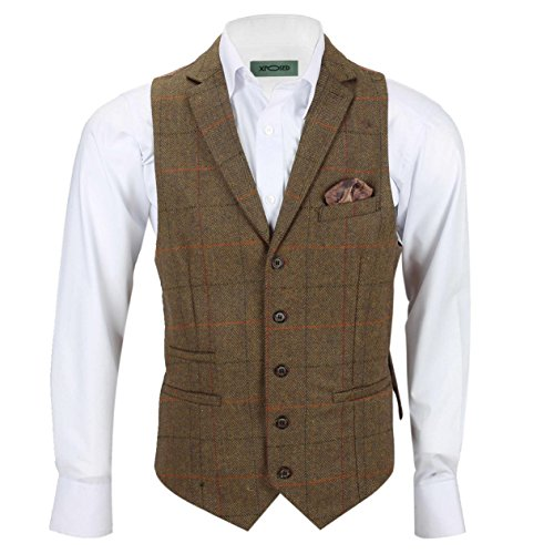 Xposed Herren Blazer Anzug, Karo * Waistcoat-Collar-Tan Brown