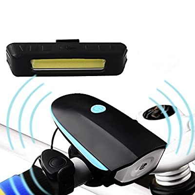 Akale Rechargeable LED Bike Lights Set 550LM with 120 DB Loud Horn- Headlight Taillight Combinations LED Bicycle Light Set (1200mah Lithium Battery, 3 Light Mode Options, 2 USB cables)