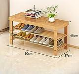 Schuhregal Natur Bambus Holz Einfache Schuh Speicherorganisator Halter Multilayer Ändern der Schuh Hocker Multifunktionale Lagerregal (Farbe : A)