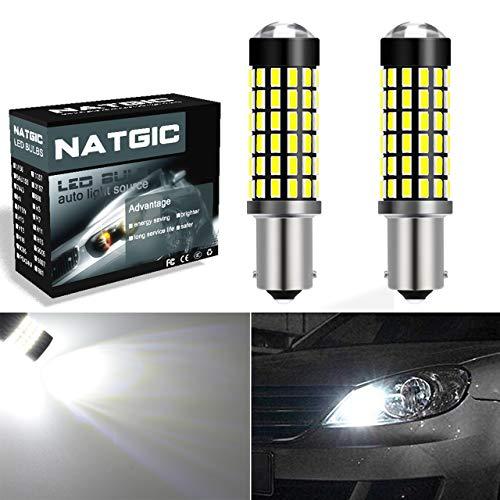 NATGIC BA9S BA9 1895 Ampoules LED Blanc xenon 1800LM 3014SMD 78-EX avec projecteur à lentille pour voyant, éclairage intérieur, feu de recul et feu clignotant, 6500K, 12-24V (2 pièces)