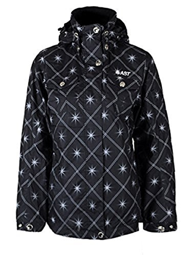 AST giacca da donna, giacca da sci, giacca invernale, Nero con Motivo, DC75, taglia S