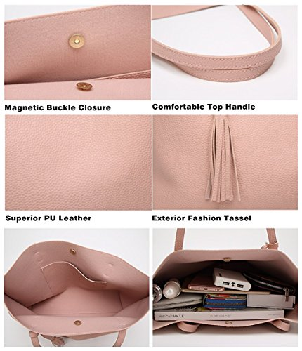 Borsa a Mano Spalla Donna Elegante Pelle Nera Blu Rosa Ragazza Grande  Borsetta Borsa Tote Shopping ... 64f78e59237