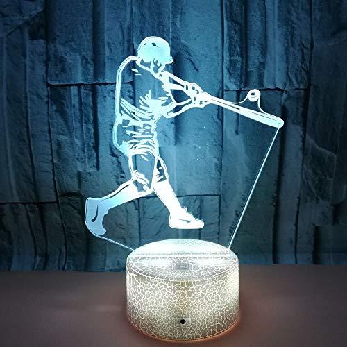 SSYYJJ 3D Illusion Nachtlampe für Kinder Dekoration Geburtstag Geschenk Tischlampen Baseball spielen