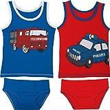 Kinderbutt Unterwäsche-Set 4-tlg. mit Druckmotiv Feuerwehr Single-Jersey blau/rot Größe 86 / 92