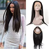 360 Lace Frontal 12 Inch 100% Unprocessed Virgin Hair Brazilian Human Hair Or Malaysian Human Hair Natural Black...