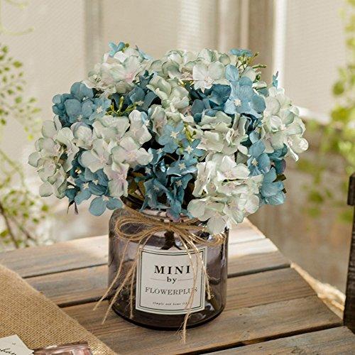 Jnseaol fiori artificiali fiori artificiali fiori finti fai da te soggiorno camera da letto davanzale decorazione della festa di nozze decorazione vaso di vetro regalo di festa blue-20