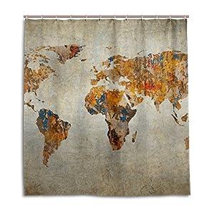 jstel Decor cortina de ducha (Grunge mapa del mundo patrón impresión 100% poliéster 66x 72pulgadas para hogar baño decorativo ducha baño cortinas con ganchos de plástico