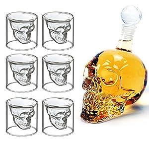 MVPower Kristall Schädel 700 ML Schnapsgläser Whisky-Set Totenkopf-Karaffe Totenkopf mit 6 x 75ML Glässer Wein Vodka Party Bar