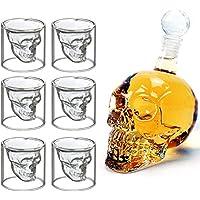 MVPOWER Kristall Schädel Schnapsgläser Whisky-Set Totenkopf-Karaffe 700 ML Totenkopf mit 6 75ML Glässer Wein Vodka zur Feier