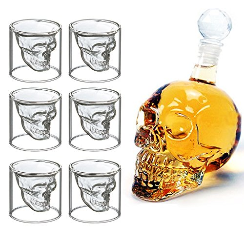 MVPower Kristall 700 ML Schnapsgläser Whisky-Set Karaffe mit 6 x 75ML Glässer Wein Vodka Party Bar