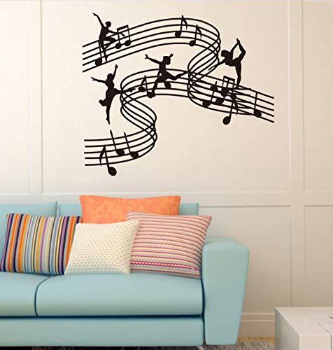 Qthxqa Daube Musik Tanz Mädchen Vinyl Wandtattoo Aufkleber Wohnkultur Schule Musik Klassenzimmer Diy Kunstwandbild Wallpaper55 * 65 Cm