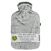 UMOI Eco Hot Water Bottle 2 litres Natural Rubber with Super Soft and Cosy Removable High-Quality Mink Fleece Cover with Velcro and Extra Lining BS1970:2012 Certified (Grey)