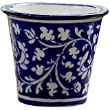 R.V. Craft Pottery Blue Pottery Decorative-Handcrafted & Painted Floral Planter Vase