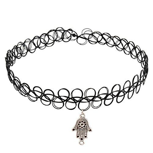 Jane-Stone-Damen-Halskette-Henna-Tattoo-mit-Anhnger-schwarz-Choker-Ketten-aus-Kunststoff-und-Metalllegierung