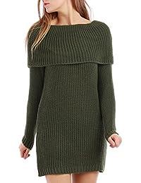 La Modeuse - Robe pull en grosse maille avec col tombant