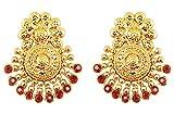 Touchstone Bollywood indien ancien bahubali du Sud inspiré boucles d'oreilles de bijoux traditionnels de mariée ornés de faux rubis pour femme Rouge...