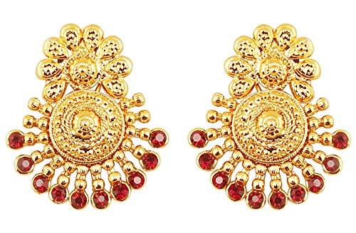 Touchstone Indische Bollywood alten südlichen Bahubali inspiriert traditionelle Brautschmuck Ohrringe mit faux Rubin verziert für Damen rot