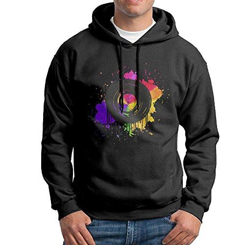 Black Vinyl Pants (MCVXV LS Vinyl Graffiti DJ Adult Long-Sleeve Cotton Pullover Hooded Sweatshirt Small Black)