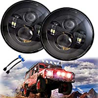 Jeep JK Wrangler LED Headlights - 7'' Round Black Cree LED Headlight High Low Beam for Jeep Wrangler JK TJ LJ CJ H1 H2 (DOT Approved)