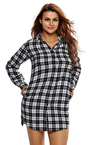 Nuovo Ladies bianco e nero plaid shirt vestito mini vestito da partito di sera Estate Vestiti Taglia M (UK 10-12EU 38-40