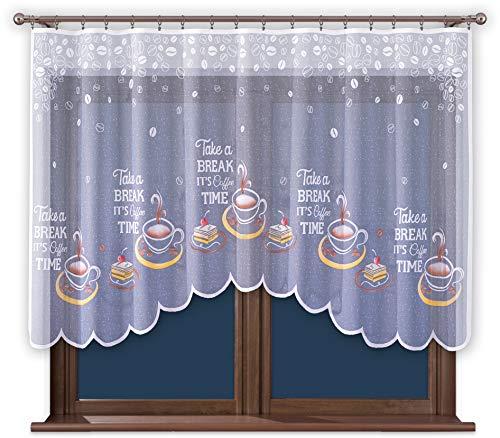 Promag Modern Scheibengardine Bistrogardine Küchengardine Gardinen mit Kräuselband für Kuche Kurz HxB 120 x 220 cm - Hergestellt in EU - Öko Tex Zertifiziert - Pflegeleicht
